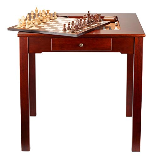 Premium Solid Wood 4-in-1 Chess Checkers Backgammon Board Game Combo and Coffee Table