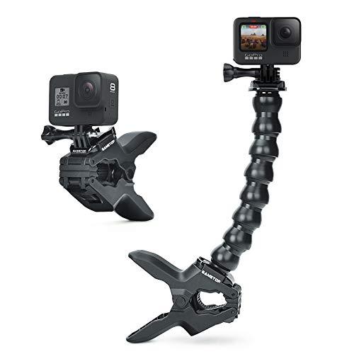 Sametop Jaws Flex Clamp Mount Supporto Morsetto Flessibile con Braccio a Collo D'Oca Regolabile Compatibile con GoPro Fotocamera Hero 9, 8, 7, 6, 5, 4, Session, 3+, 3, 2, 1, Max, Fusion, Hero (2018)