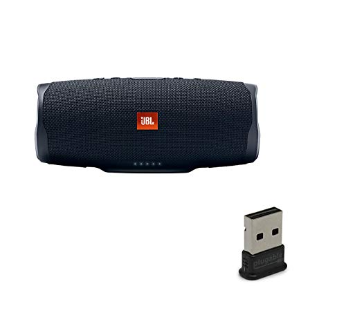 41VpKZyp6aL This bundle includes (1) JBL Charge 4 Waterproof Wireless Bluetooth Speaker and (1) USB Bluetooth Adapter. Wirelessly connect up to 2 smartphones or tablets to the speaker and take turns enjoying powerful sound. Built-in rechargeable Li-ion 7500mAh battery supports up to 20 hours of playtime and charges your device via USB port.