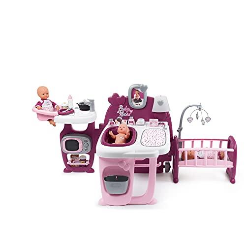 Smoby - Baby Nurse Centro Gioco per Bambole 3 Aree Giochi Cucina, Bagnetto, Cameretta, 23 Accessori Inclusi, Pieghevole e Trasportabile, + 3 anni, 7600220349