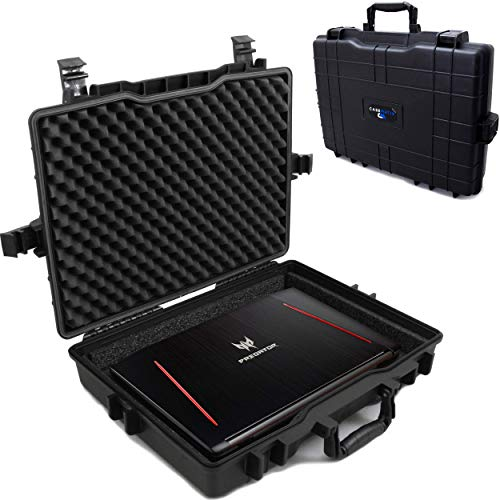 Casematix Waterproof Laptop Hard Case for 15 - 17 inch Gaming Laptops and Accessories - Rugged Heavy...