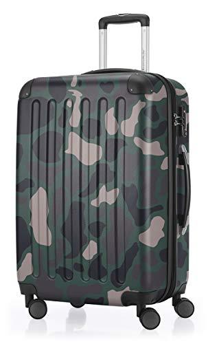 HAUPTSTADTKOFFER - Spree - Hartschalen-Koffer Koffer Trolley Rollkoffer Reisekoffer Erweiterbar, TSA, 4 Rollen, 65 cm, 74 Liter, Camouflage
