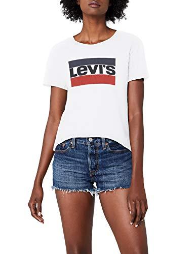 Levi\'s Damen T-Shirt The Perfect Tee, weiß/Sportswear Logo White 0297, Small