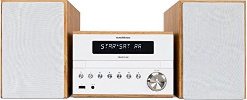Nordmende Transita 300 - Kompaktanlage (Mini Stereoanlage mit DAB+, UKW, CD-Player, USB-Schnittstelle, Bluetooth, 50 Watt RMS, Fernbedienung) weiß/holz