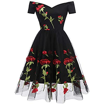 ♣♣ Design:Long sleeve dresses for women,Elegant and vintage Ladies A-line dress tulle spliced evening party cocktail prom formal ball gowns,Rockabilly Swing Evening Romantic Dress ♣♣ Features:3/4 sleeve or long sleeve, V neck, a line and high waist d...