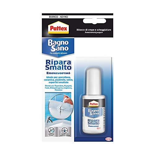 Pattex Bagno Sano Ripara Smalto, smalto acrilico a base acqua per ritocchi di scheggiature e graffi con effetto vernice,...