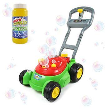 Sunny Days Entertainment Bubble-N-Go Deluxe Toy Bubble Lawn Mower with 4 oz Bubble Solution   No Batteries Required   Push Bubble Machine - Maxx Bubbles