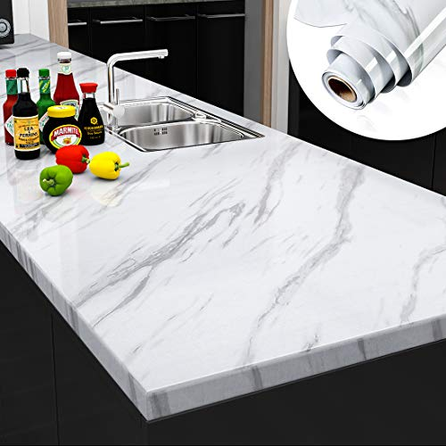 Yenhome Large Size Jazz White Marble Counter Top Covers Peel and Stick Wallpaper for Kitchen Backsplash Shelf Liner...