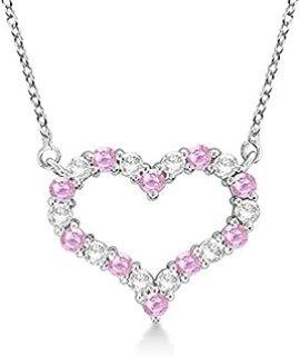 Collar con colgante de zafiro rosado y diamantes de corazón abierto
