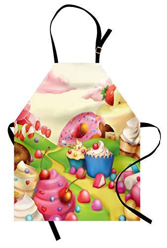 ABAKUHAUS Niños Delantal de Cocina, Delicioso Donuts Sweet Land, Estampados con Tecnología Digital A Prueba de Agua y Suciedad, Multicolor