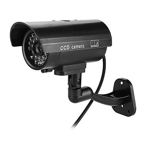Telecamera di sicurezza fittizia Telecamera CCTV impermeabile finta con luce LED rossa lampeggiante per uso esterno e interno (senza batteria) - Nero