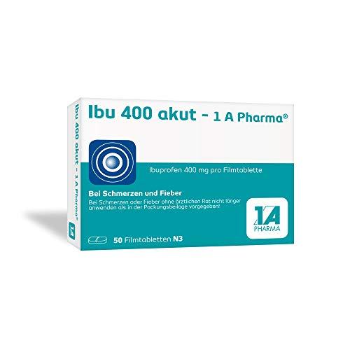 Ibu 400 akut - 1 A Pharma, 400 mg Tabletten mit Ibuprofen (50 Stck.): Bei Schmerzen und Fieber