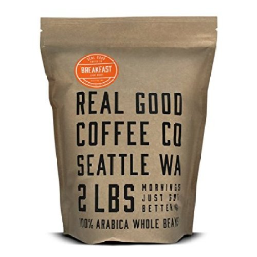 Real Good Coffee Co Whole Bean Coffee, Breakfast Blend Light Roast Coffee Beans, 2 Pound Bag