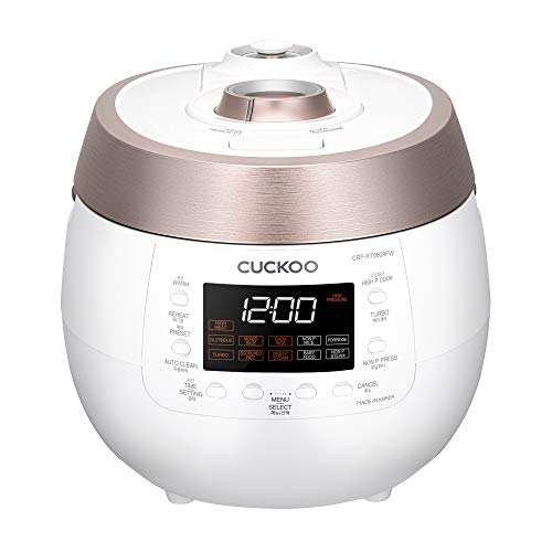 Cuckoo CRP-RT0609FW 6 cup Twin Pressure Plate Rice Cooker & Warmer with High Heat, GABA, Mixed, Scorched, Turbo, Porridge, Baby Food, Steam (Hi/Non Press.) and more, Made in Korea (White)
