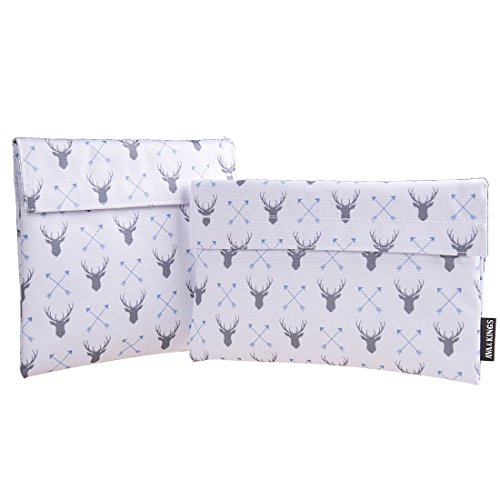 Ava & Kings Reusable Eco Friendly Lunch Food Sandwich Fabric Snack Bags Insulated- Great for School, Work, Picnics, Men & Women - Set of 2: 7x7 in & 6x9 in - White Deer & Arrow Design
