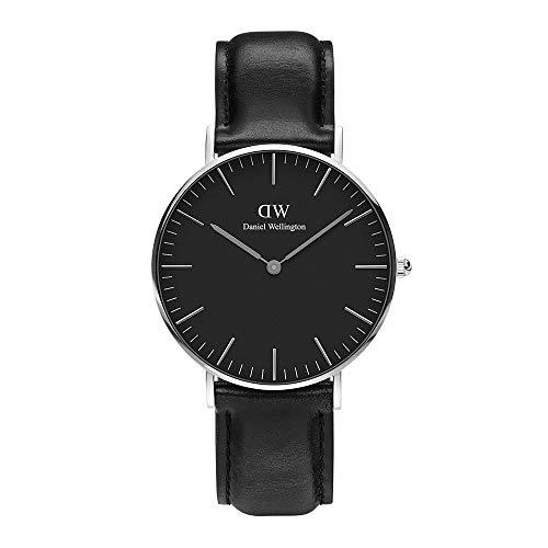 Daniel Wellington Classic Sheffield, Schwarz/Silber Uhr, 36mm, Leder, für Damen und Herren