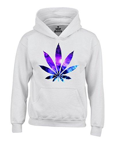 Marijuana Leaf Galaxy Hoodies #61367 Weed Smokers Hoodies Large White