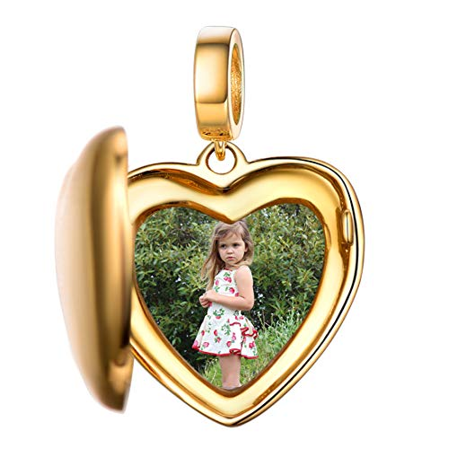 Pingente de foto personalizado para adolescentes em prata esterlina 925 / Árvore da vida banhada a ouro 18 K / Mensagem em formato de coração romântico Gravar e imagem colorida Pingente de medalhão de foto para pulseira, embalado para presente Dourado
