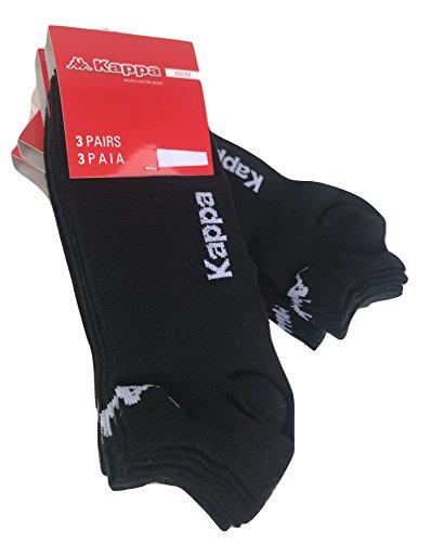 6 paia calzini KAPPA , calzini fantasmini invisibili ,calzini sneakers in cotone ,modello unisex, vari assortimenti. (36-38, 6 paia nero)