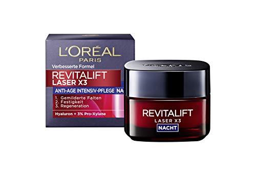 L\'Oréal Paris Hyaluronsäure Nachtcreme, Anti-Aging Gesichtscreme, Revitalift Laser x3 Nachtpflege für Anti Falten, 50ml