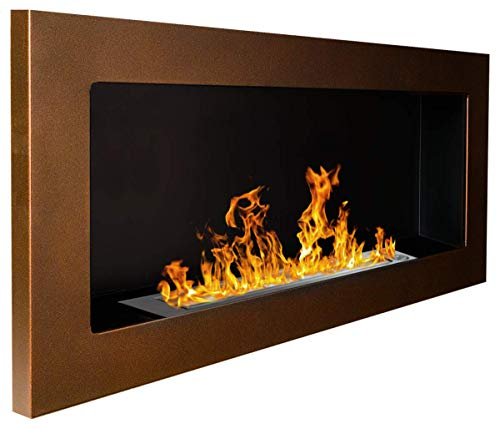 Bio Ethanol Fire BioFire Fireplace Modern 900 x 400 Brown
