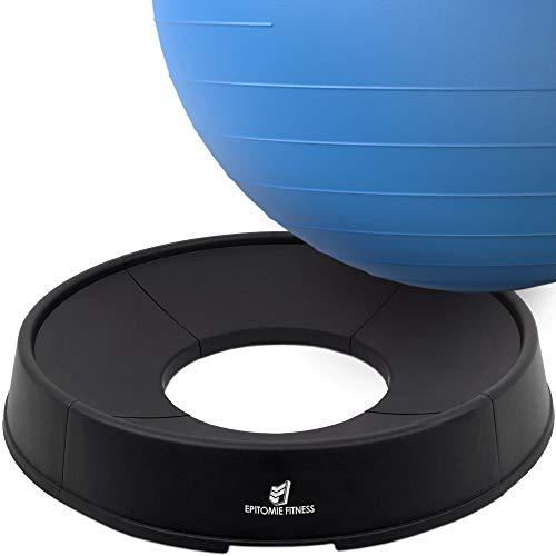 Epitomie Fitness Gymnastikball Basis – Ständer für Balance-Bälle passt Bälle von 55 cm bis 75 cm – Konvertiert Stabilitätsball in Bürostuhl oder Schwangerschaftssitz – auch Widerstandsbänder bereit