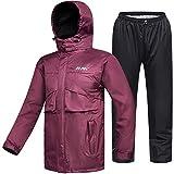 ILM Motorcycle Rain Suit Waterproof Wear Resistant 6 Pockets 2 Piece Set with Jacket and Pants Fits Women (Women's Medium, Wine Red)