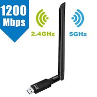 WiFi Adapter 1200Mbps, Whew USB Wireless Adapter Dual Band 2.4GHz/5GHz Channel, WiFi Network Adapter with USB 3.0 and 5dBi Antenna, Support Windows XP/Vista/7/8/8.1/10 Mac OS 10.4-10.12 Linux…