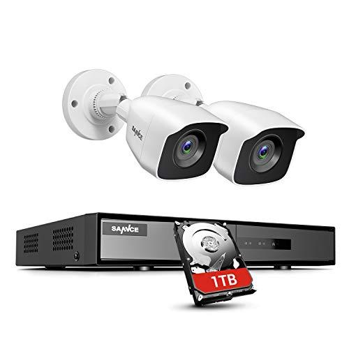 SANNCE Kit de cámaras de vigilancia 1080P Lite 4CH DVR con disco duro de 1TB instalado H.264 + y 2 cámaras de vigilancia 1080P CCTV Detección de movimiento IP66 Impermeable - 1TB HDD
