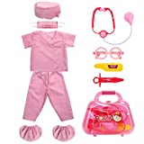 Fedio Kid's Scrubs Doctor Role Play Costume Dress up Set with Doctor Medical Kit for Toddler Children Ages 3-5 (Hot Pink)
