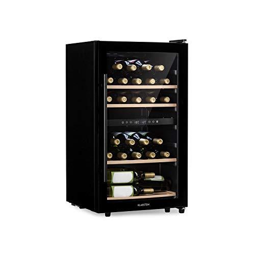 KLARSTEIN Barossa - Cantinetta Vini, Frigo Vini, 2 Zone, Temperatura: 5-18 C, Porta in Vetro, Display LCD, Illuminazione Interna a LED, Touch, LED, Nero, 34 Bottiglie