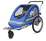 Schwinn Trailblazer Double Bicycle Trailer, Blue/Gray