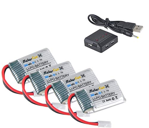 Hootracker 4pcs 3.7v 250mAh 20c Lipo Battery Parts with 1pcs 4 in 1 Battery Charger for Syma X4 X11 X11c And Walkera...