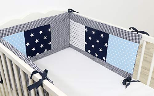 ULLENBOOM ® Nestchen Blau Hellblau Grau (210x30 cm Baby Bettnestchen, Bettumrandung für 140x70 cm Babybett - Kopfbereich, Motiv: Punkte, Sterne)