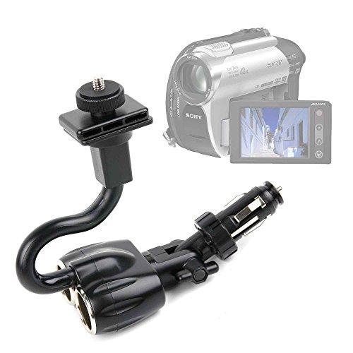 DURAGADGET Supporto Accendisigari Auto per videocamere Panasonic HC-V110 | HC-V520 | Twin Camera HC-W850EG-K | X900M | Kenuo HD 1080P 16MP - Spazio per Carica di Altre 2 Dispositivi