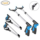 2 Pack - 32' Foldable Reacher Grabber Pickup Tool, Extender Gripper Tool, Long Handy Arm Assist Tool, Flexible Lightweight Mobility Aid Reaching Claw Trash Garbage Picker (Blue)