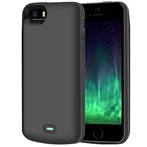 RUNSY Battery Case Compatible with iPhone 5 / 5S / SE, 4000mAh Rechargeable Extended Battery Charging Case, External Battery Charger Case, Adds 2.3X Extra Juice (4 inch)