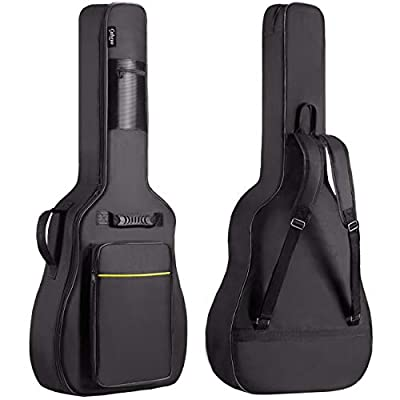 0.35 in thicker padding and larger front pocket than previous version.Really worth the price! 42.1 x 16.3 x 4.7 inch, compatible with 39/40/41 inch acoustic & classical guitars Soft bag with waterproof oxford cloth exterior Dual adjustable shoulder s...