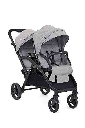 Joie Evalite Duo Kinderwagen | Superlicht | Vanaf de geboorte te gebruiken | Met één hand in te klappen | Verstelbare zitjes | 5-puntsgordel | Vastzetbare zwenkwielen | Inclusief regenscherm