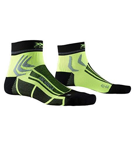 X-Socks Bike Hero Ultra Light Socks Calze da ciclista uomo donna Socks Calze Calzini, Unisex Adulto, Opal Black/ Phyton Yellow, 39-41