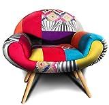VOLERO 'SHOPPING ONLINE, Fauteuil Design Patchwork, Modèle Briseide, Revêtement Tissu et Velours Multicolore, Structure et Pieds en Bois.