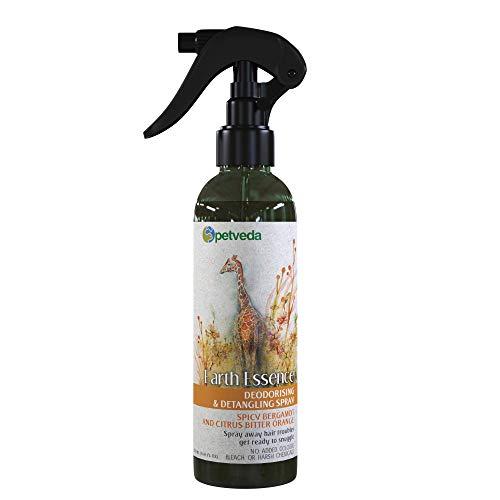 PETVEDA Ayurvedic Deodorant Spray for Dogs and Cats, Deodorizing Perfume Long Lasting, Odour Remover, Detangle Mist with Bergamot Essential Oil, Alcohol Free (250 ml)