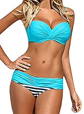 Beautiful patch striped print pattern make it chic and unique Contrast padded push up spaghetti strappy top, retro style for a big bust Spaghetti strap, push up with rims, criss cross back, twist bandeau bikini top Sexy two piece bandage padded push ...