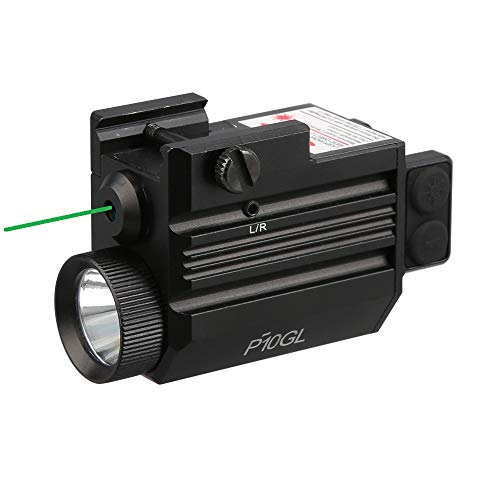 HiLight P10GL 500 lm Strobe Pistol Flashlight & Green Laser Sight Combo (USB Rechargeable: Built-in Battery + USB Charging Cord)
