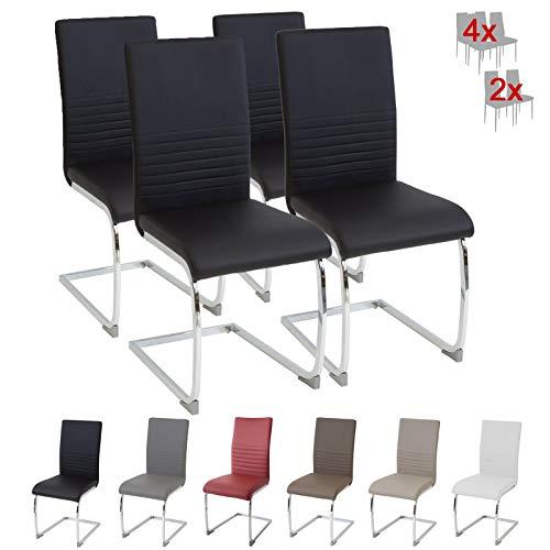 Albatros Silla Cantilever BURANO Set de 4 sillas Negro, SGS Probado