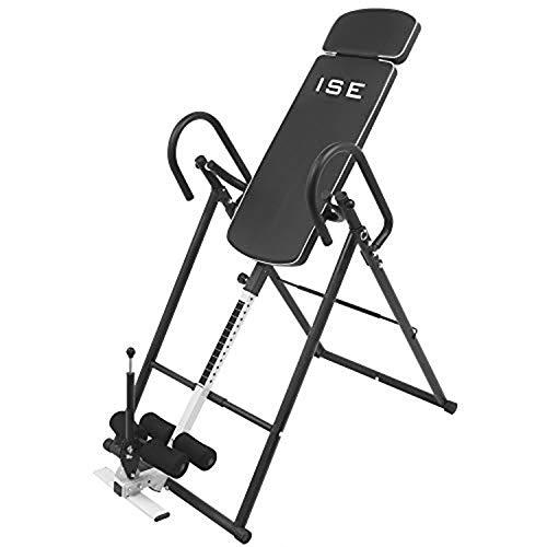ISE Table d'inversion réglable et pliable, équipement d'exercice pour réduire les douleurs du dos et du cou, avec dossier confortable, hauteur jusqu'à 185 cm, max 100 kg, SY-ES1012