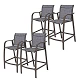Crestlive Products Counter Height Bar Stools All Weather Patio Furniture with Heavy Duty Aluminum Frame in Antique Brown Finish for Outdoor Indoor, 4 PCS Set,27.5'' Seat Height (Dark Gray)