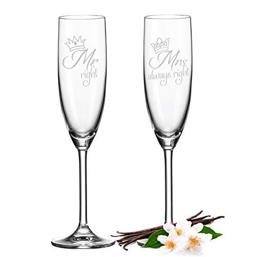 Leonardo   Calici da spumante Mr. Right & Mrs. Always Right   Bicchieri da spumante per matrimonio, idea regalo divertente