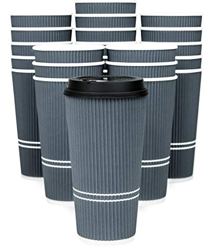 Glowcoast Disposable Coffee Cups With Lids - 22 oz To Go Coffee Cup With Lid (50 Set). Large Togo Travel Paper Ripple Hot Cups Insulated For Hot, Cold Beverage Drinks, No Sleeves Needed (Dusk Grey)