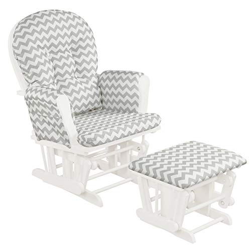 Costzon Baby Glider and Ottoman Cushion Set, Wood Baby Rocker Nursery Furniture, Upholstered Comfort Nursery Chair & Ottoman with Padded Arms (Gray and White)